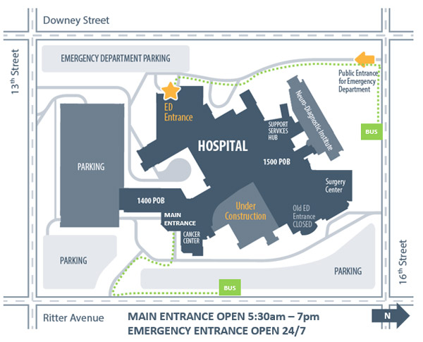 Community Hospital East under construction campus map