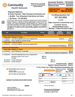 Community Health Network billing statement sample