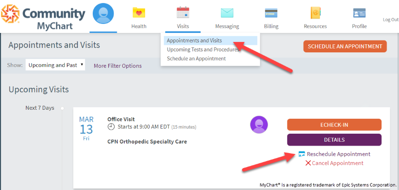 MyChart reschedule appointment screenshot