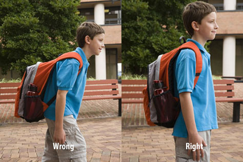 Proper way for kids to wear a backpack