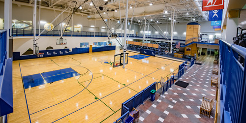 Indoor basketball courts at Healthplex