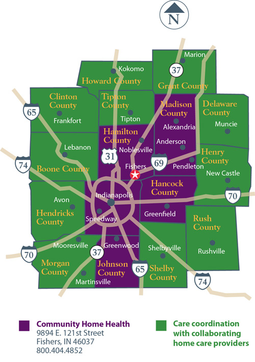 Home Health service areas map