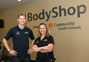 Josef Newgarden and Sarah Fisher stop by Community Health Network Body Shop