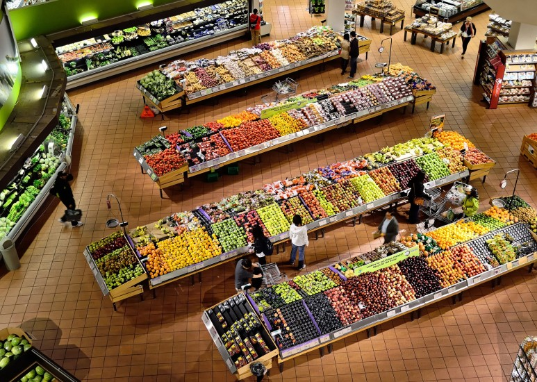 View of produce isle in a store