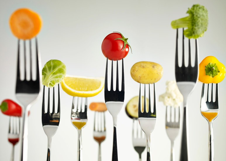 Veggies on forks