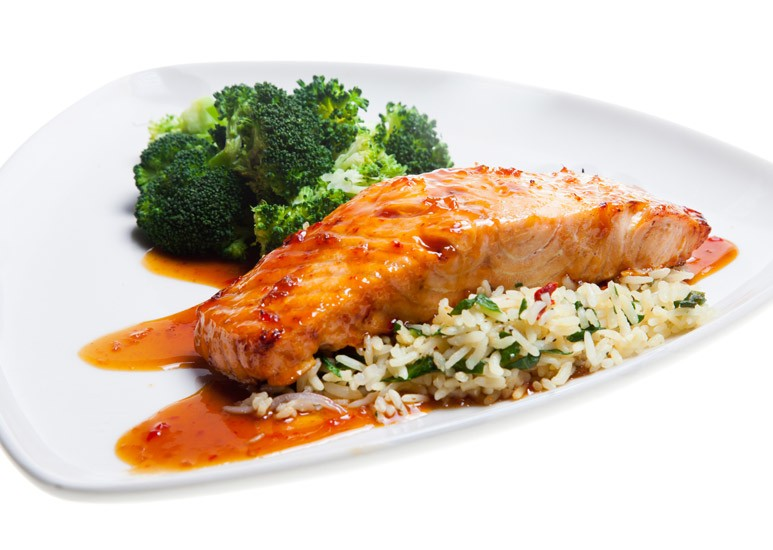 Glazed salmon dish