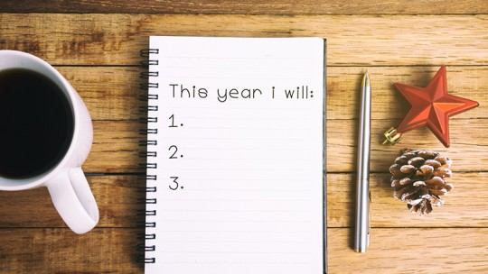 Notebook with list of goals