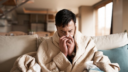 man with cold, flu, or covid-19