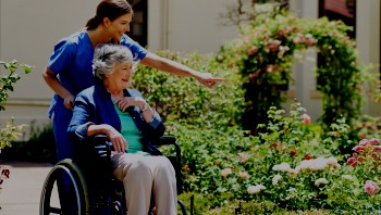 Home care nurse discussing flower garden with senior woman in wheelchair